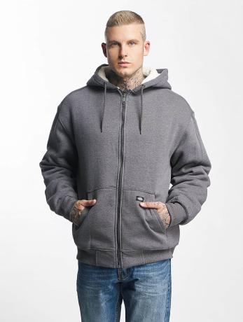 dickies-manner-zip-hoodie-sherpa-fleece-in-grau