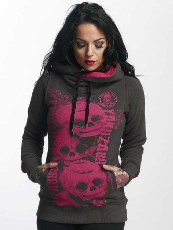 yakuza-frauen-hoody-skull-cross-in-grau