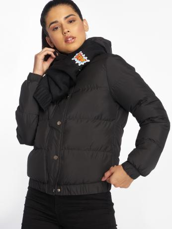 urban-classics-frauen-puffer-jacket-hooded-puffer-in-schwarz