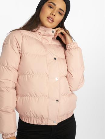 urban-classics-frauen-puffer-jacket-hooded-puffer-in-rosa