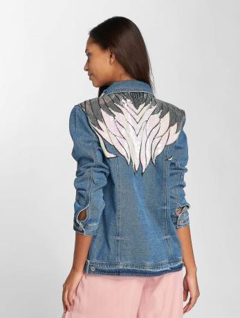 only-frauen-jeansjacken-onlflame-sequin-denim-in-blau