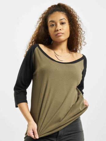 urban-classics-frauen-longsleeve-ladies-3-4-contrast-raglan-in-olive