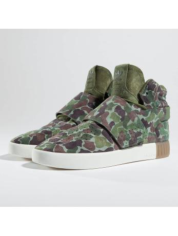Adidas Tublular Invader Strap Sneakers Olive Cargo-Dark Brown-Chalk White