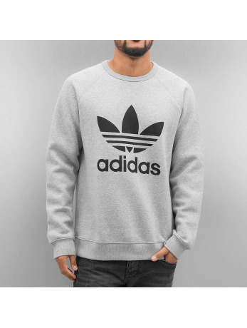Adidas Trefoil Fleece Sweatshirt Medium Grey Heather-Black