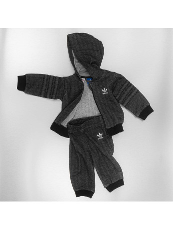 Adidas Trefoil Hoody Suit Set Black-White