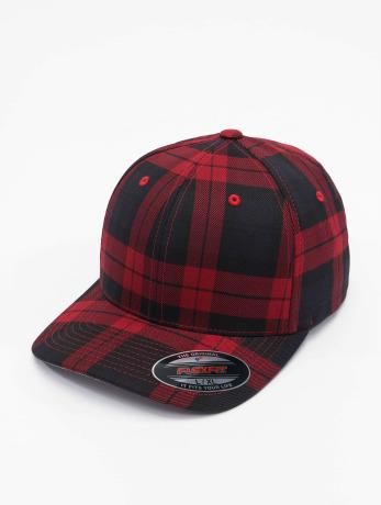 flexfit-manner-frauen-flexfitted-cap-tartan-plaid-in-schwarz