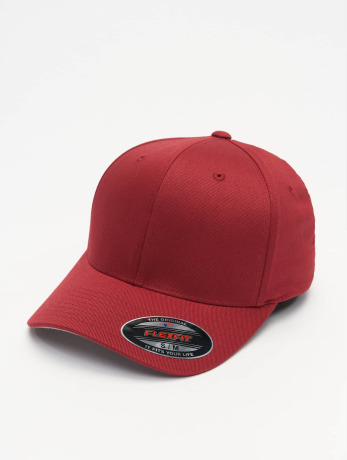 flexfit-manner-frauen-flexfitted-cap-wooly-combed-in-rot