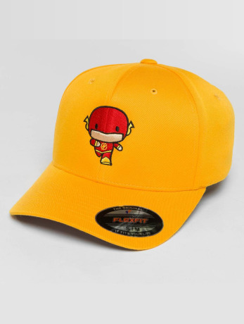 merchcode-manner-frauen-sport-flexfitted-cap-flash-comic-in-gelb