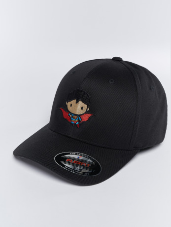 merchcode-manner-frauen-flexfitted-cap-superman-comic-in-schwarz