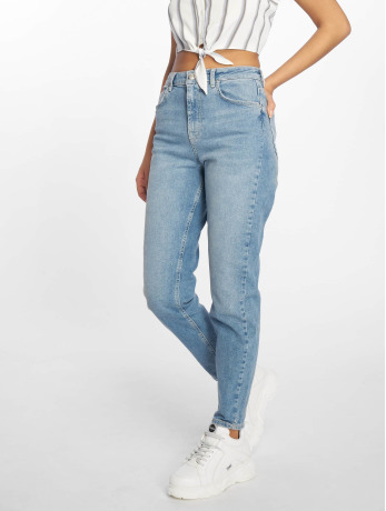 pieces-frauen-mom-jeans-pcmom-leah-hw-in-blau