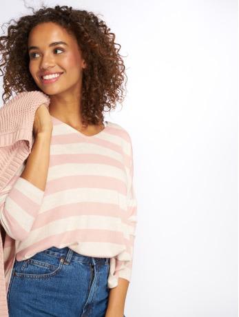 only-frauen-pullover-onlmaye-ls-stripe-v-neck-in-rosa