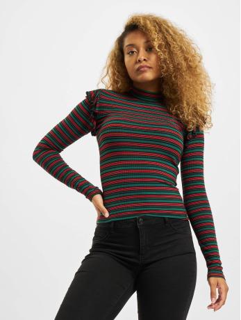 urban-classics-frauen-longsleeve-rib-striped-volant-in-grun