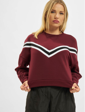 urban-classics-frauen-pullover-inset-striped-in-rot