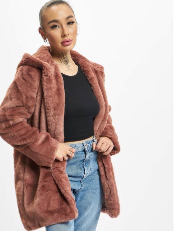 urban-classics-frauen-mantel-hooded-teddy-in-rosa
