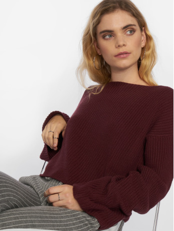 na-kd-frauen-pullover-cropped-long-sleeve-knitted-in-rot