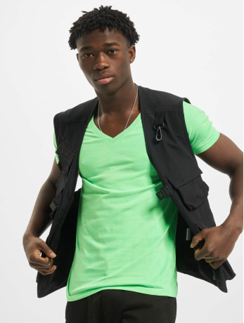 urban-classics-manner-t-shirt-neon-v-neck-in-grun