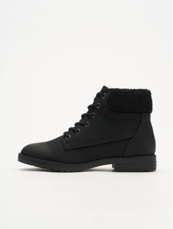 new-look-frauen-boots-barber-shearling-cuff-in-schwarz