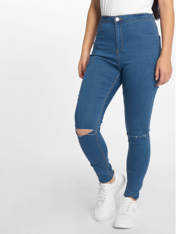 missguided-frauen-high-waist-jeans-vice-highwaisted-slash-knee-in-blau
