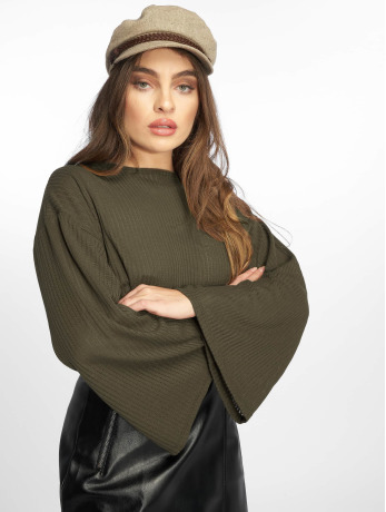 missguided-frauen-pullover-ribbed-flare-in-olive