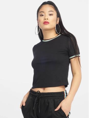 urban-classics-frauen-t-shirt-short-multicolor-rib-in-schwarz
