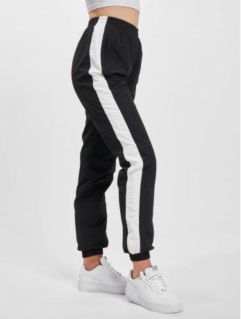 urban-classics-frauen-jogginghose-striped-crinkle-in-schwarz