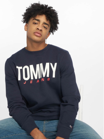 tommy-jeans-manner-pullover-essential-logo-in-blau