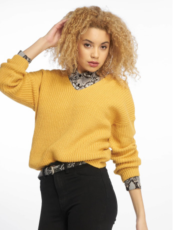 new-look-frauen-pullover-op-twist-back-in-gelb
