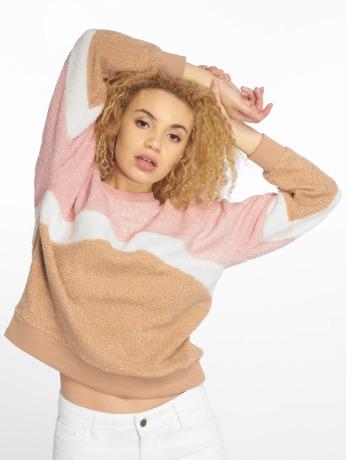 new-look-frauen-pullover-chevron-borg-in-pink