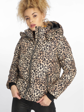 new-look-frauen-puffer-jacket-animal-print-in-braun