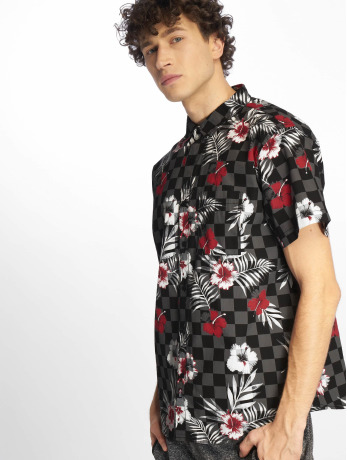 southpole-manner-hemd-flower-checker-print-in-schwarz