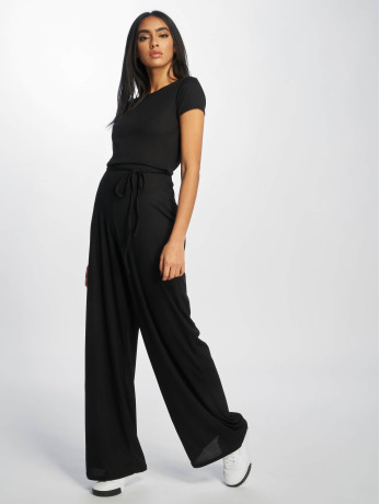 missguided-frauen-jumpsuit-rib-short-sleeve-wide-leg-in-schwarz