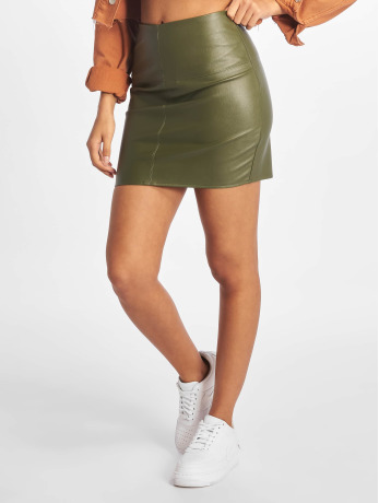 missguided-frauen-rock-faux-leather-in-olive