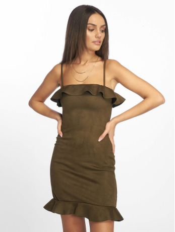 missguided-frauen-kleid-bonded-suede-frill-in-khaki