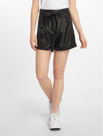 missguided-frauen-shorts-faux-leather-belted-in-schwarz