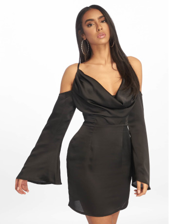 missguided-frauen-kleid-satin-cowl-cold-in-schwarz