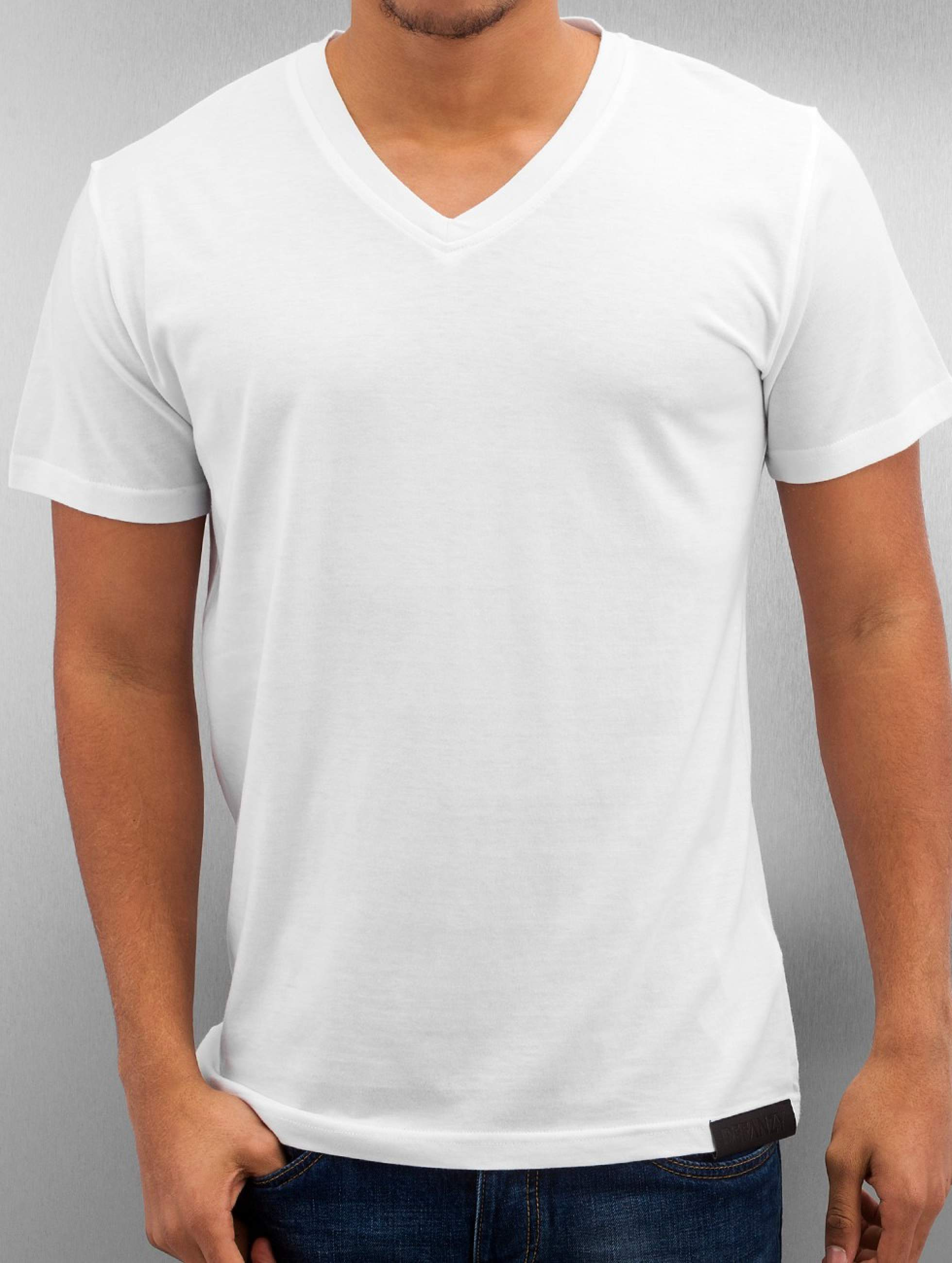 DefShop | Basic V-Neck blanc Homme T-Shirt