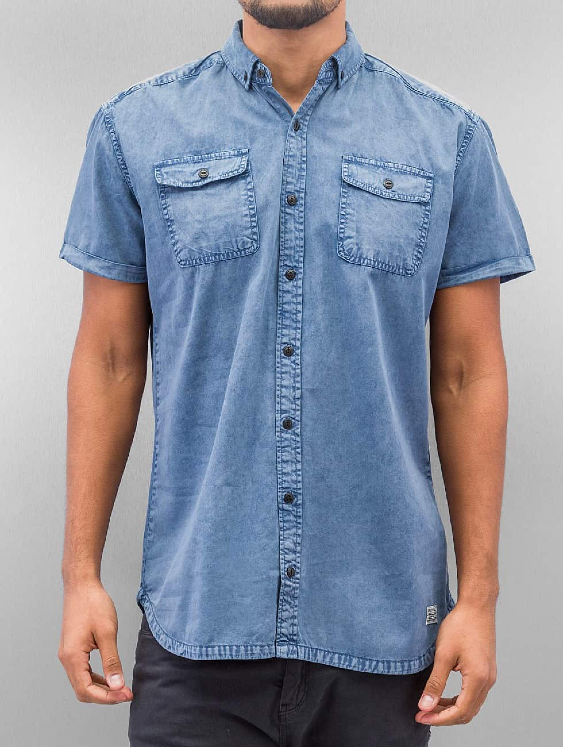 SHINE Original | Washed And Worn Out bleu Homme Chemise