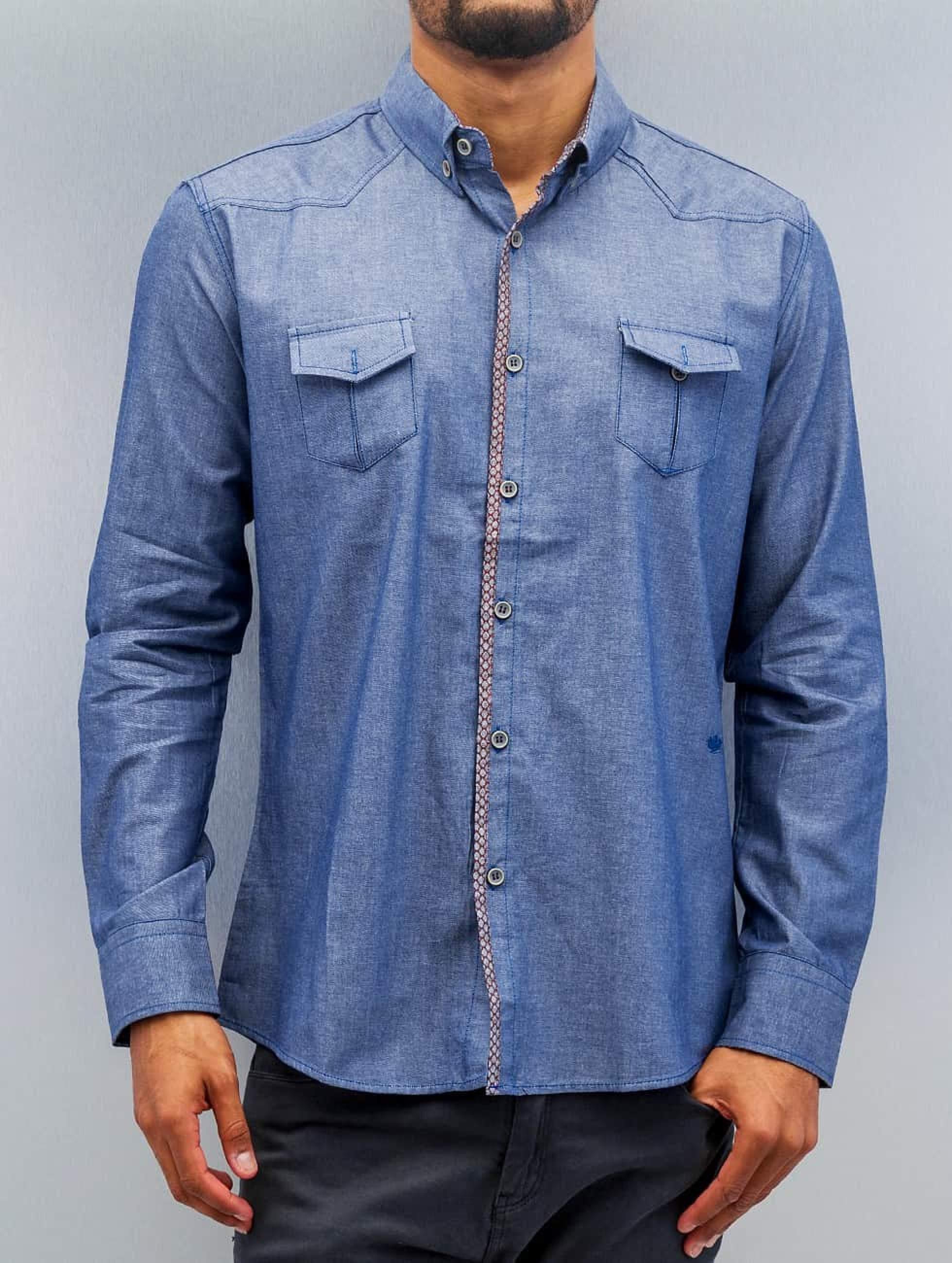Open Männer Hemd Breast Pocket in blau