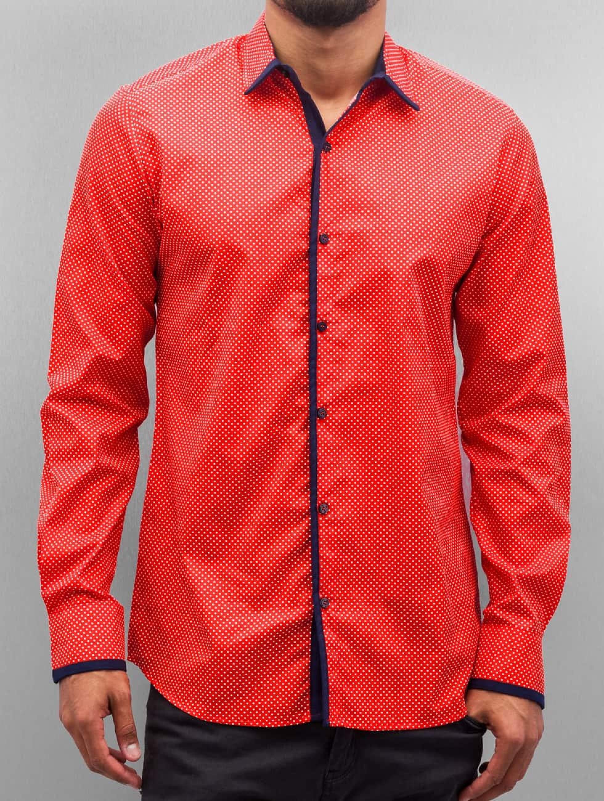 Open Männer Hemd Dots in rot