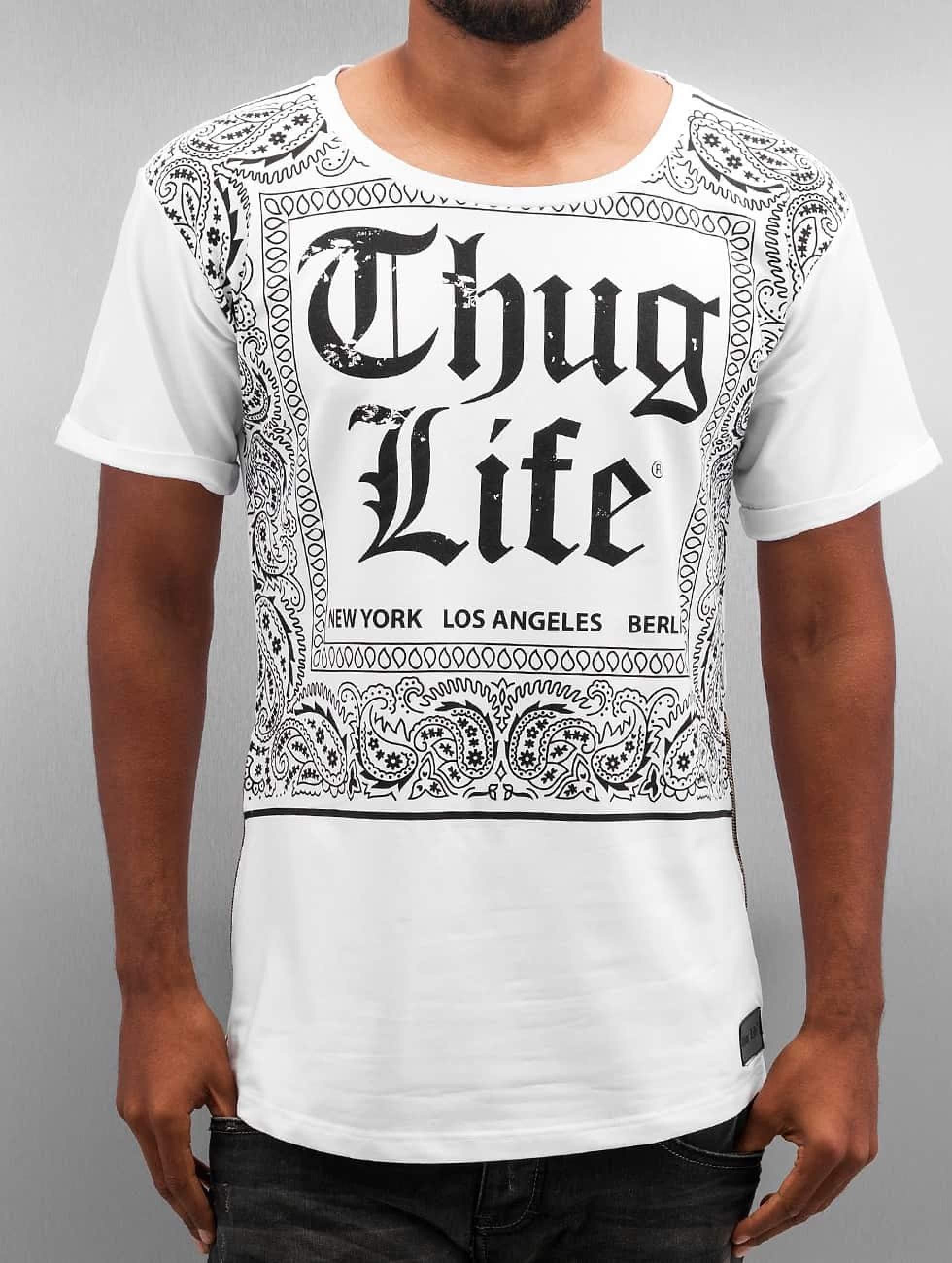 Thug Life / T-Shirt Bandana in white XL