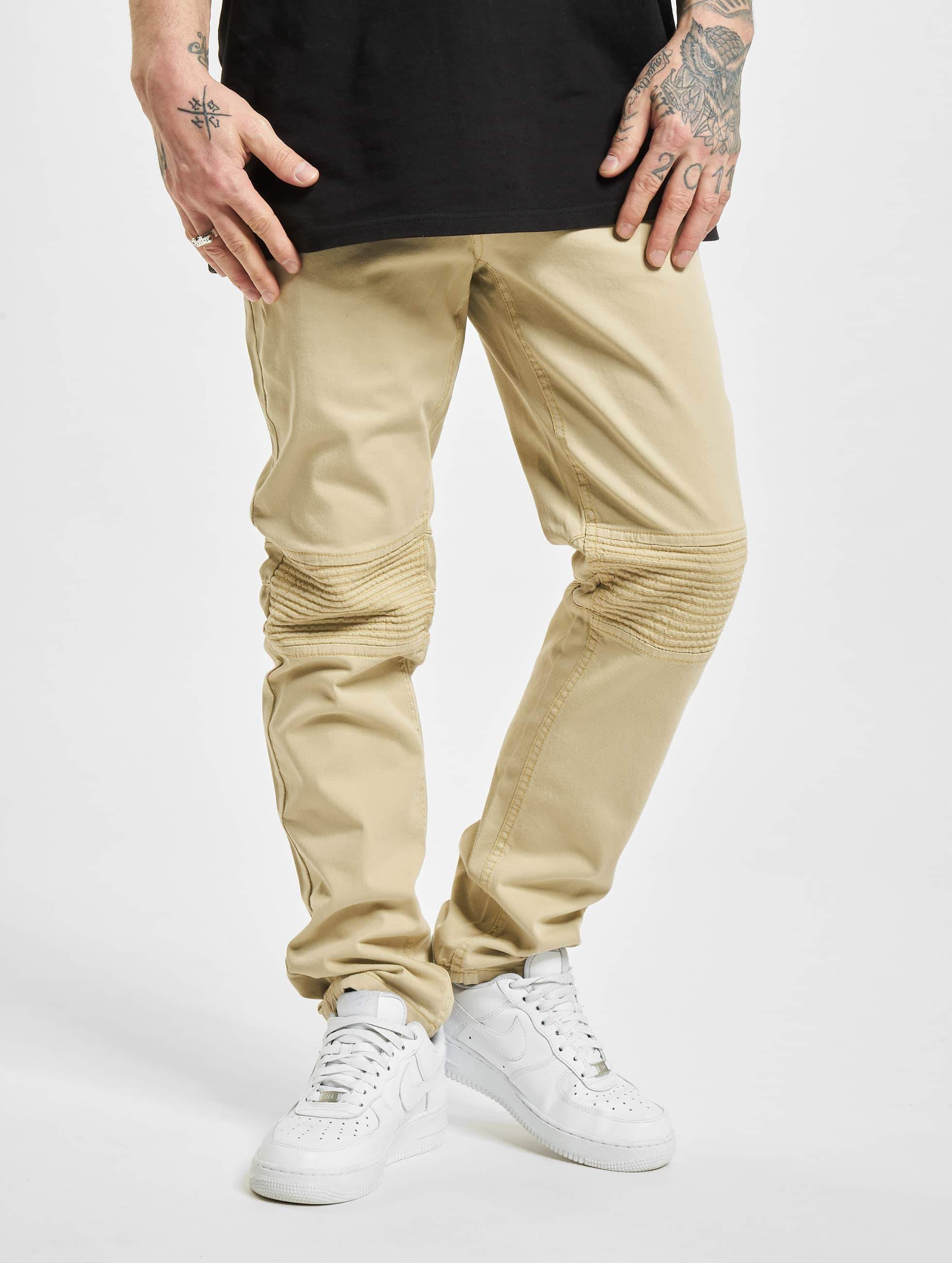 Rocawear / Straight Fit Jeans Quilted in khaki W 30