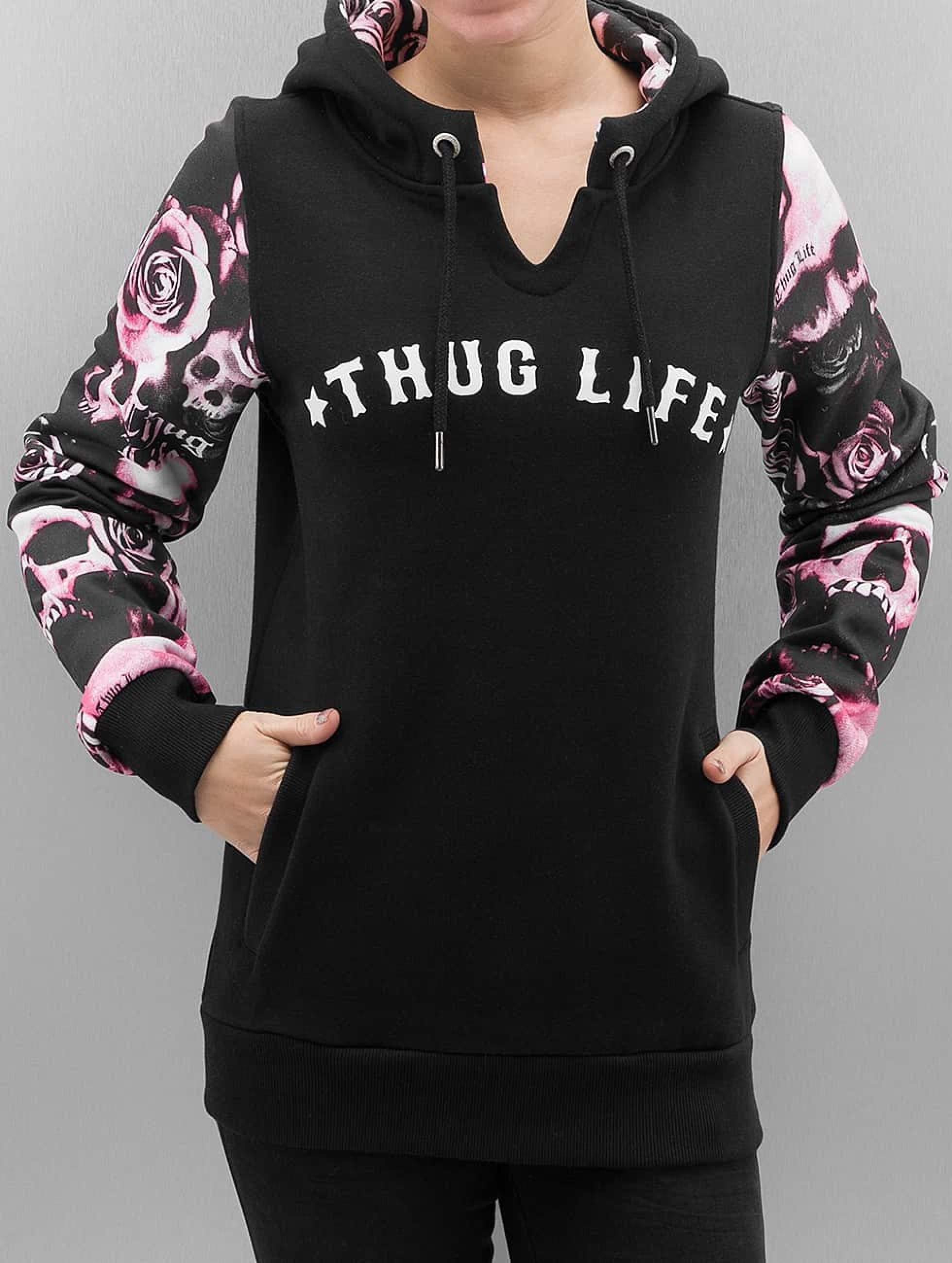 Thug Life / Hoodie Skullpattern in black XS