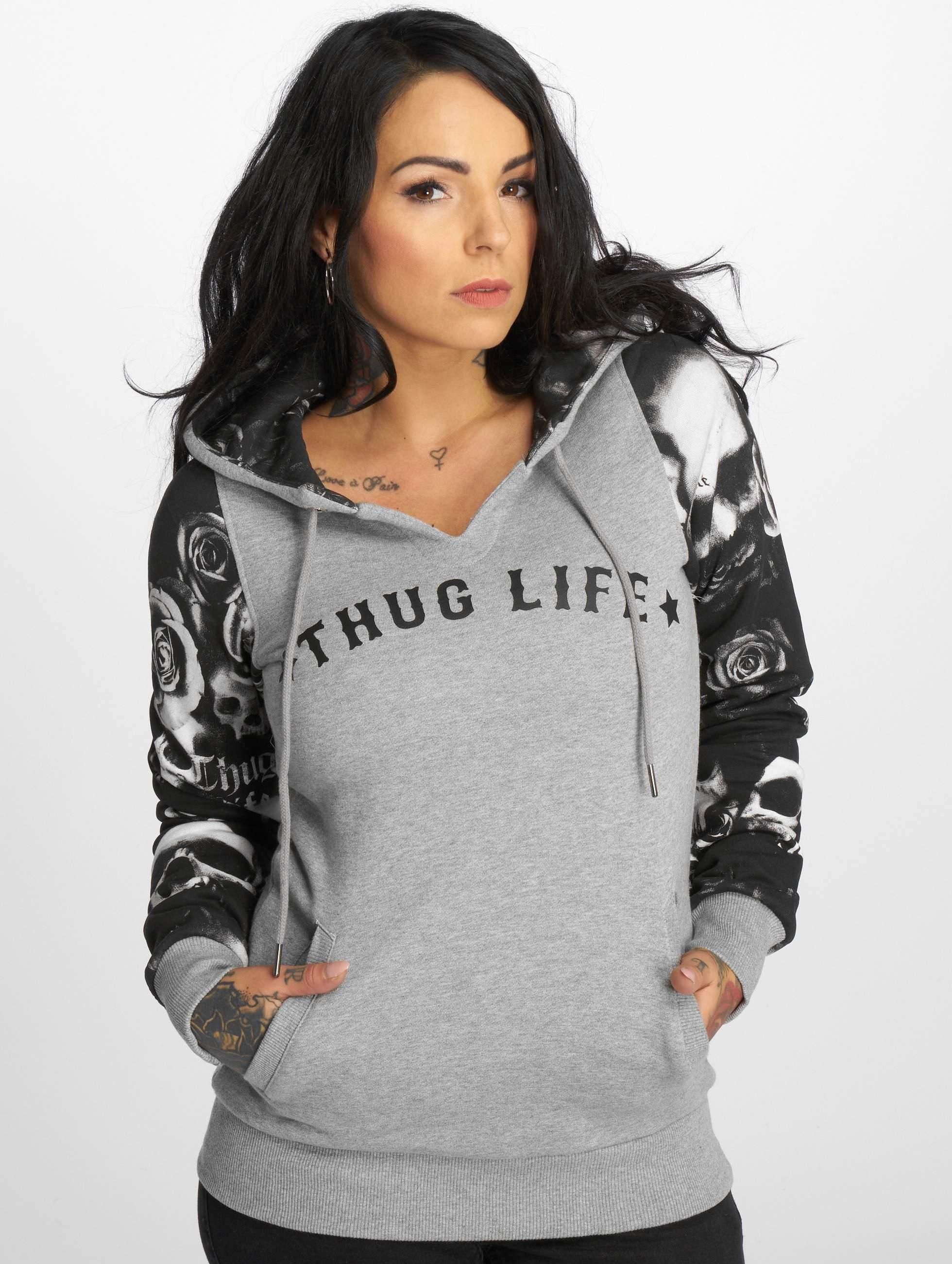 Thug Life / Hoodie Skullpattern in grey XS