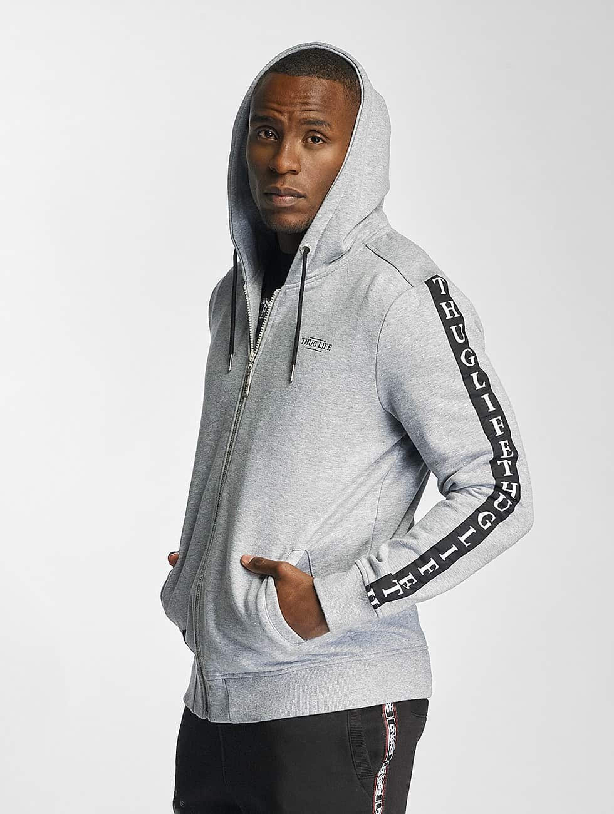 Thug Life / Zip Hoodie Wired Life in grey XL