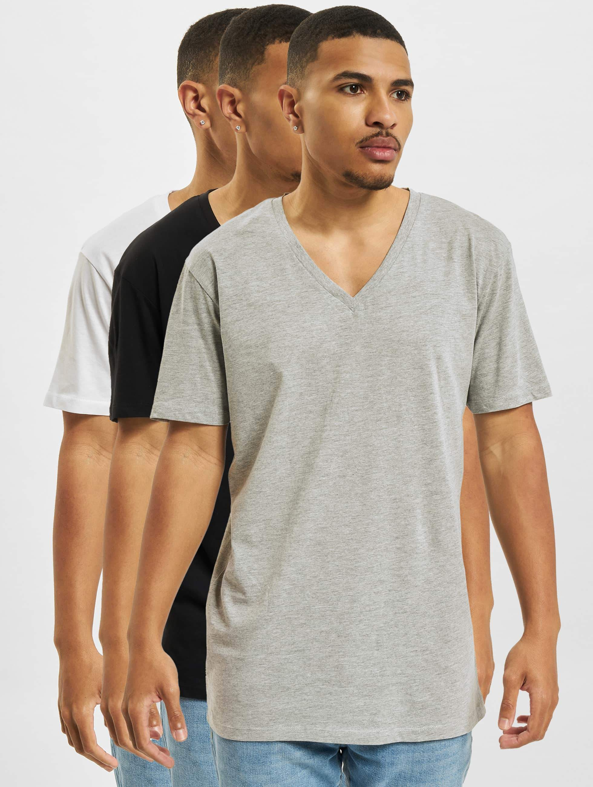 DEF / T-Shirt 3 Pack in black 3XL