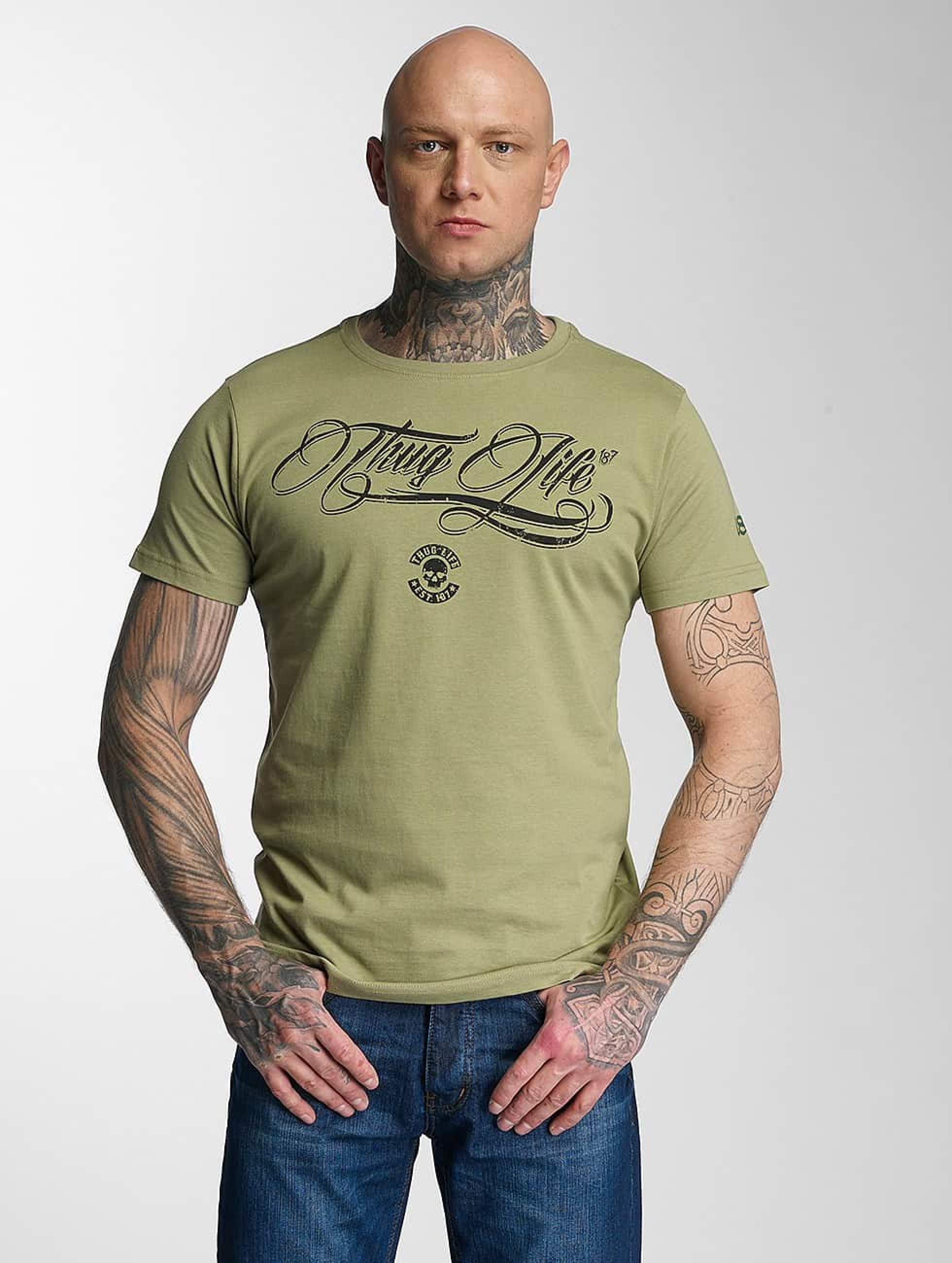 Thug Life / T-Shirt Kursiv in olive XL