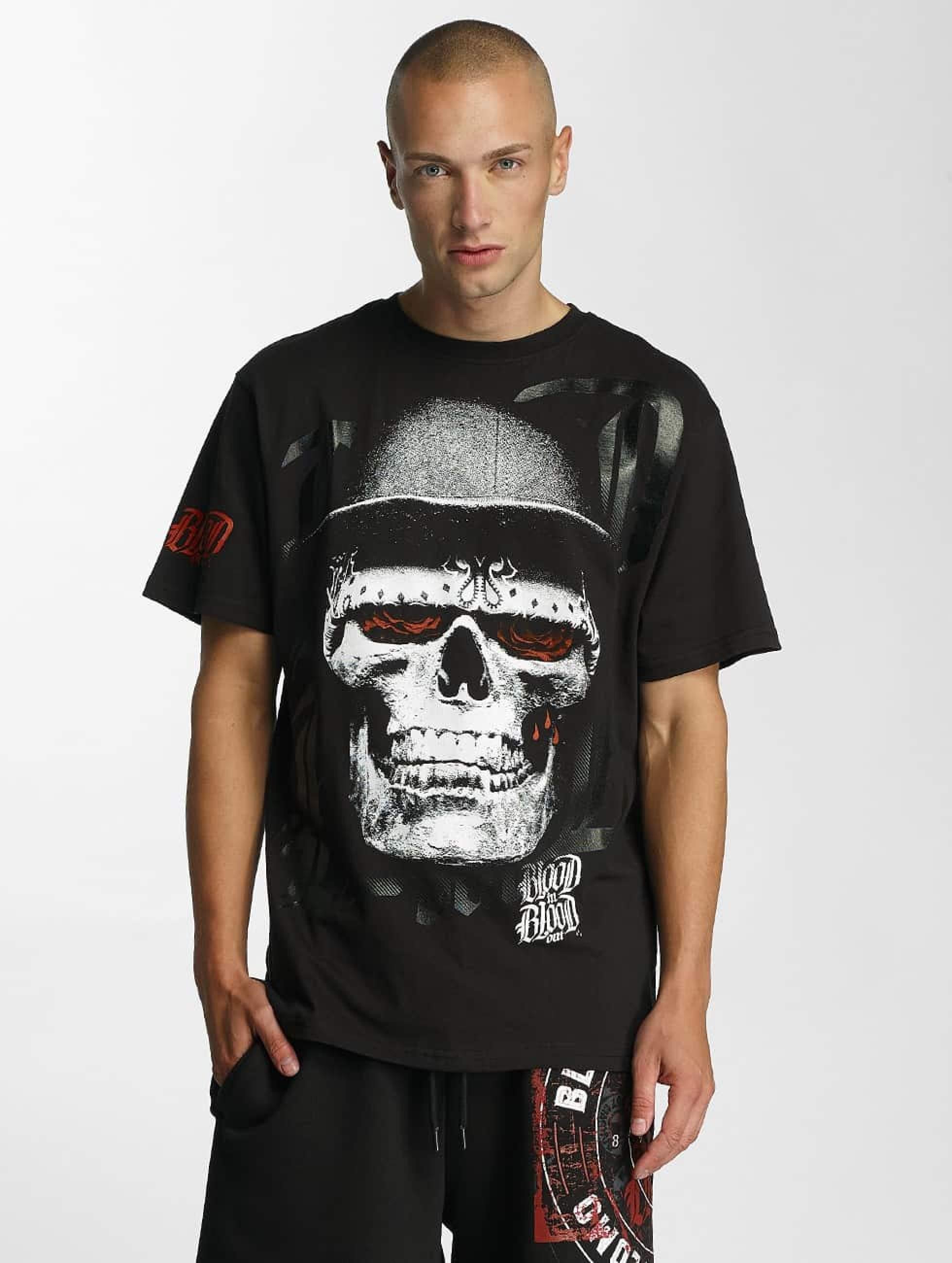 Blood In Blood Out   Skull Hat  noir Homme T-Shirt