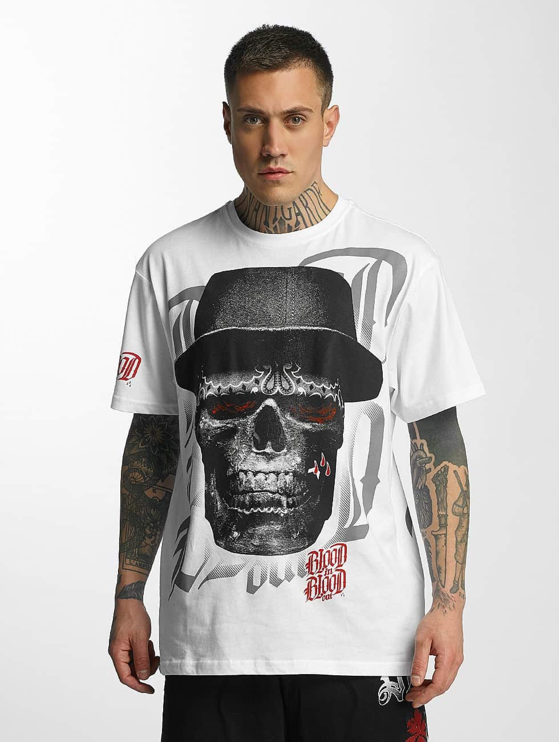Blood In Blood Out   Out Skull Hat blanc Homme T-Shirt