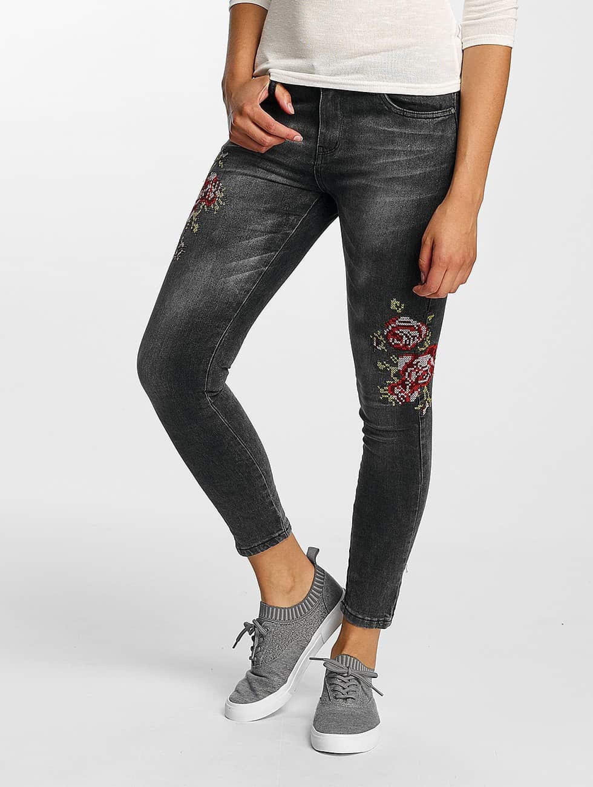 Hailys | Sari Roses noir Femme Jean skinny