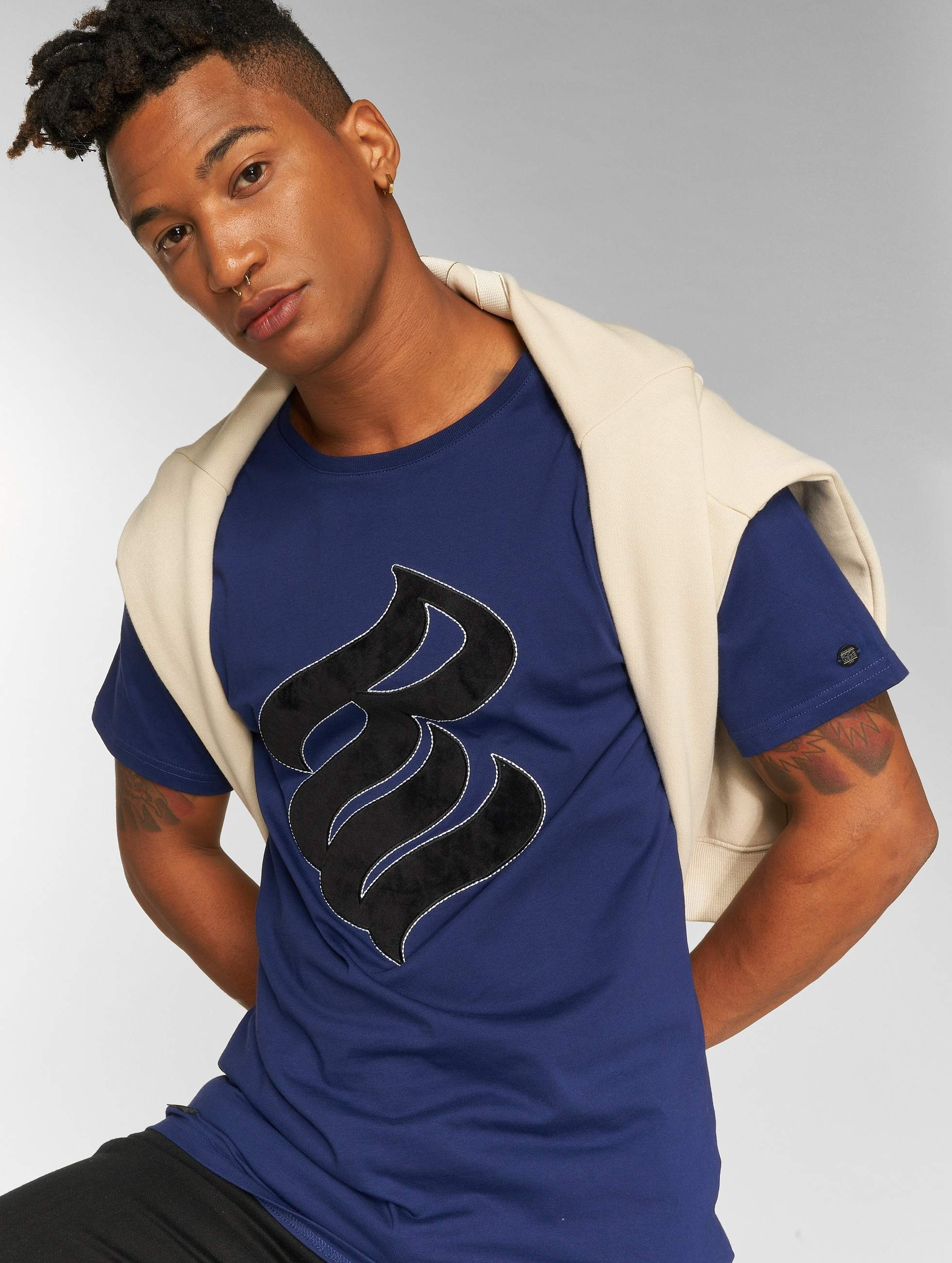 Rocawear / T-Shirt Velvet Logo in blue S